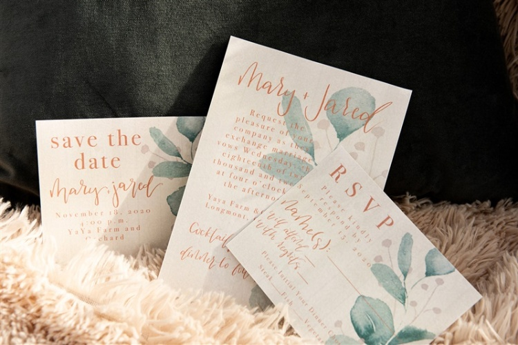 The invitation suite turned out so well. I love the way the colors compliment the rustic feel the planner was aiming for. I also was so thankful to have a planner who really trusted my abilities and let me be creative to make these beauties! I used #92 Natural White Cotton Card Stock for this invitation suite from Paper and More.