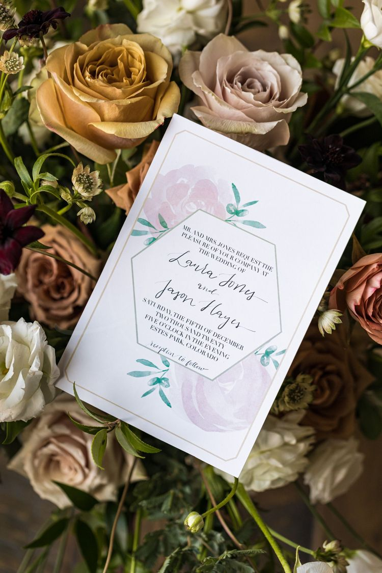 Close up of the invitation. I love the looser lettering mixed with the nice typed font and the light and airy colors together really make this invitation dreamy.