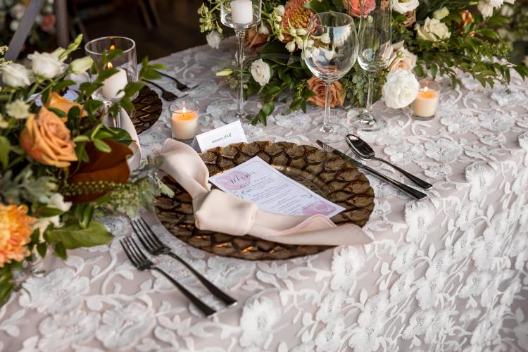 The lighter colors of the menus really gave great contrast to the richer colors of the table decor. Beautiful menus like these give your table an extra touch of elegance.